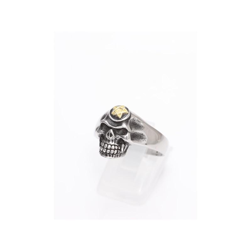 Ring mit Totenkopf und Pentagramm 49EM636