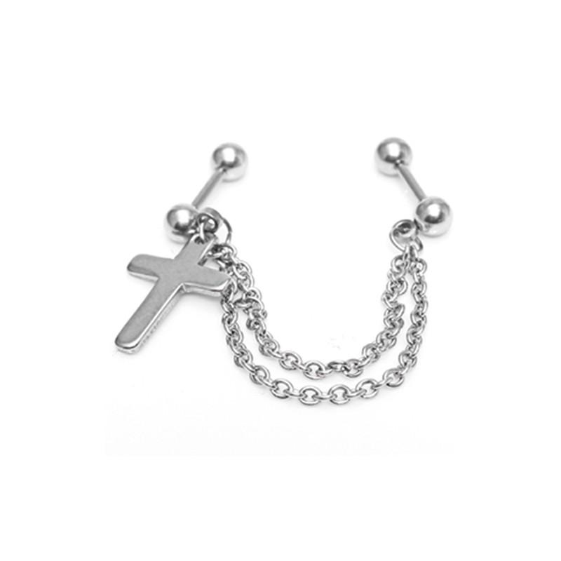 Body-Piercing mit Kreuz & Kette 57EM779