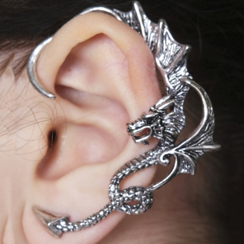 Ohrenklemme Drache Antiksilber 9MS2