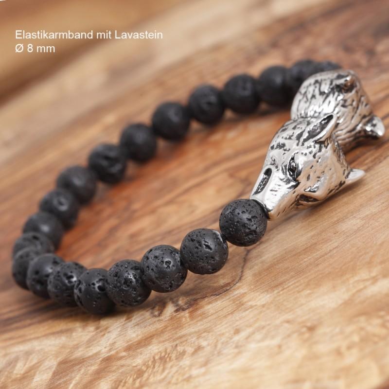 Armband Edelstahl mit Lavastein 24ST31