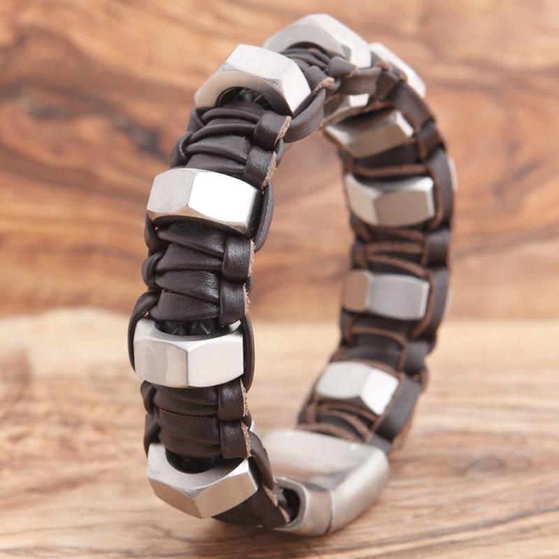 Armband Edelstahl mit Leder 89ST310A