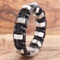 Armband Edelstahl mit Leder 89ST311