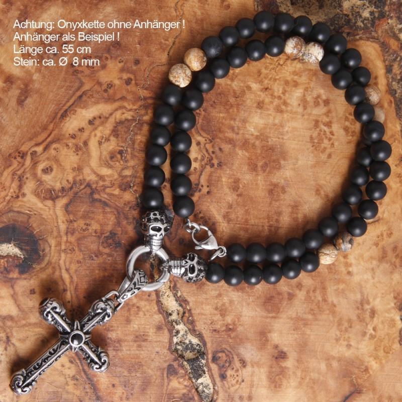 Halskette Edelstahl mit Onyxstein-Perlen 28ST46