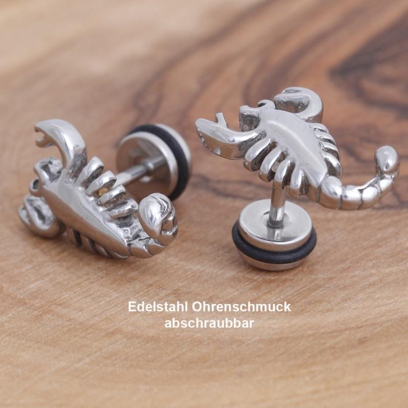 Edelstahl-Ohrstecker Skorpion mit Gewinde 34ST147
