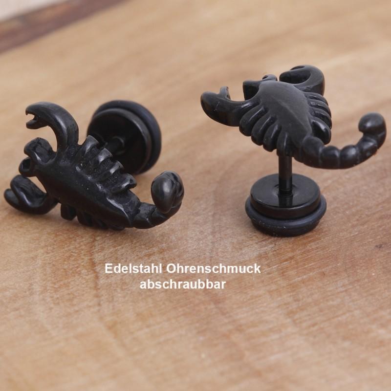 Edelstahl-Ohrstecker Skorpion mit Gewinde 34ST148