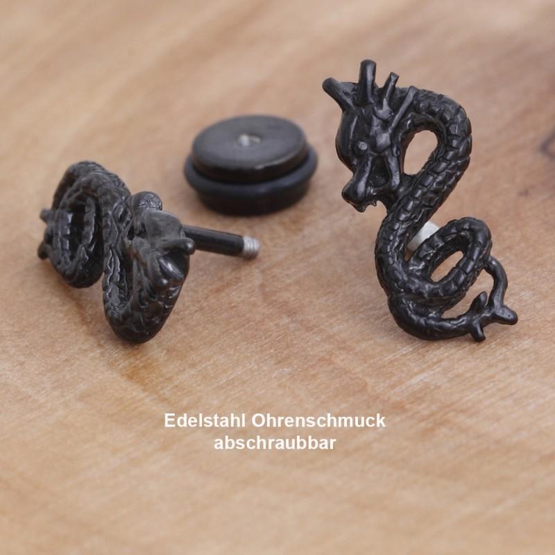 Edelstahl-Ohrstecker Drache mit Gewinde 34ST157