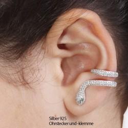 Echte silberne Ohrklemme Schlange 44SL18 (Stückpreis)
