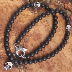 Edelstahl-Halskette mit Onyxstein-Perlen 29ST54 (Paket 2 Stück)