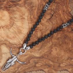 Edelstahl-Halskette mit Lavastein-Perlen 50ST345