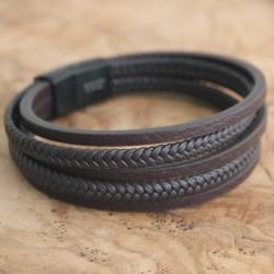 Edelstahl-Armband 1A K-Leder D-braun (Paketpreis)