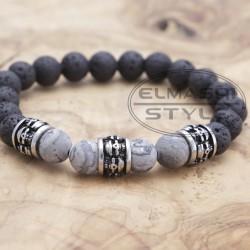 Edelstahl-Armband Lavastein (Paketpreis)