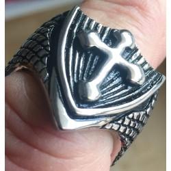 Edelstahlring Kreuz